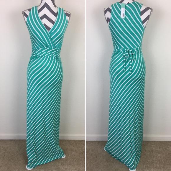 7bf122814cc NWT Stitchfix Gilli Zuli Green Striped Maxi Dress